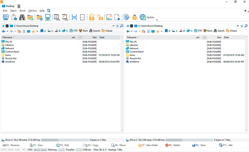 WinNc, a tabbed file manager for Windows 10